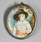 English Portrait Miniature of Young Boy, 19th Century