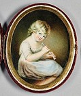 Signed Portrait Miniature of Child with Musical Instrument c1800