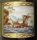 George Robertson Ship Scene Derby Porcelain Can c1795 - 1797