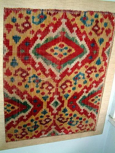 A Fine Velvet Ikat Textile Exemplar 19th c