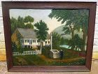 A Charming American Naive Folksy Painting c1925