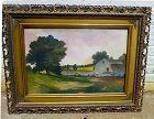 A Charming American Naive Landscape Painting 19th C