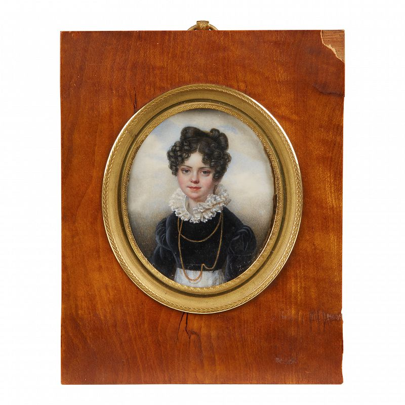Louis Aubry Miniature Painting of a Beautiful Girl c1815