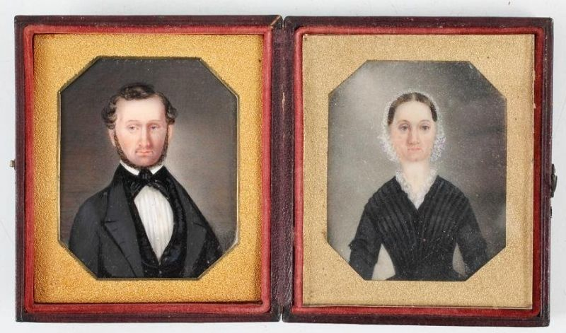 Matthew Brady Dag Case with Two Portrait Miniatures c1845