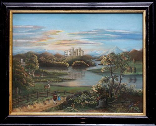 Spectacular and Rare Large Sandpaper Painting c1860
