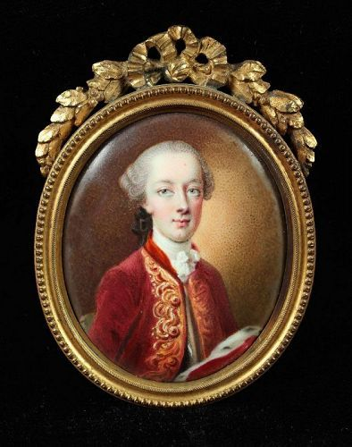 Miniature Portrait by Jean Andre Rouquet  c1740