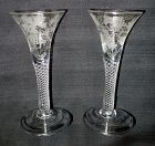A Pair of Antique English Air Twist Wine Glasses  c1755
