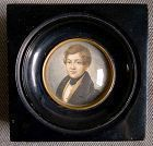Signed Miniature Portrait Painting c1830