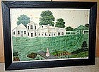 Wonderful Farm Scene with Figure Lancaster PA  C 1845