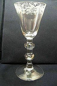 Tall Newcastle Engraved Baluster Glass; C 1735