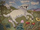 Totally Charming Hooked Rug with Sheep; C 1930