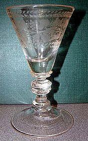 Very Fine Engraved Baluster Wine Goblet  C 1750