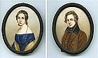 Superb Pair of American  Miniature Portraits c 1830