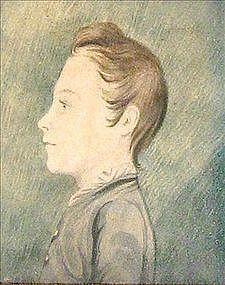 Charming Folk Art Watercolor Profile Portrait c 1835