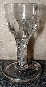 English Opaque Twist Dram Firing Glass  c 1765