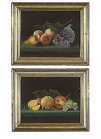 A Pair of American Pastel Still Life Paintings c1850