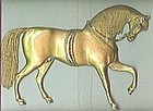 Antique Gilded Brass Horse Plaque