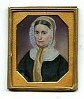 Signed M.B. Russell Miniature Portrait Painting c1850