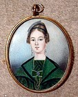 American Miniature Portrait of a Young Woman 19th C