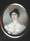 Miniature Painting of Lady Wearing Miniature  c1840