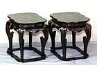 Pair Chinese Black Lacquer & Inlaid high Display Stands