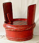 Japanese Red Lacquer on Wood Saki Barrel