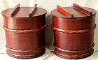 Japanese Wooden Miso covered Storage Tub/Pot(Pair)