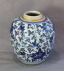 18C. Chinese Kangxi Blue & White porcelain Tea Jar