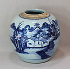 Chinese Canton Blue & White Porcelain Jar, 19th C.