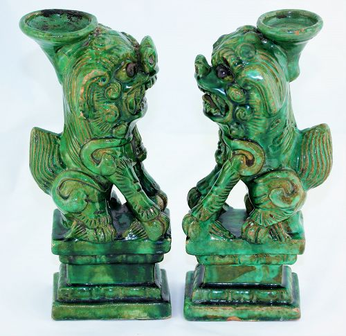 Two(2) Chinese Green Pottery Foo Lion Joss stick Holders