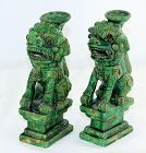 Chinese Green glazed Pottery Foo Lion Holders(2)