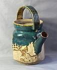 Japanese Oribe pottery Tea pot, Meiji Period