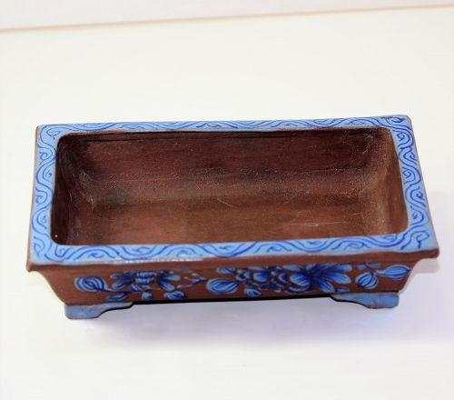 Chinese Yixing Pottery Bulb Dish with enamel decoration