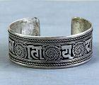 Tibetan Silver Bangle Bracelet with Tibetan Character