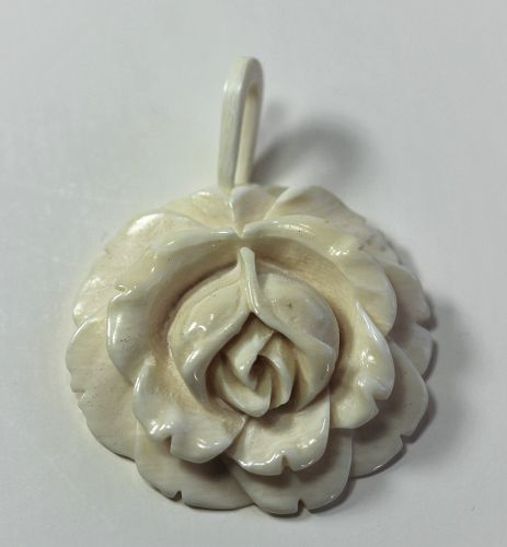 Chinese carved Ivory Rose Pendant