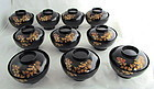 Japanese Black & Gold Lacquer Bowls and covers(10)