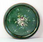 French Green Tole Tray with floral decoration