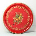 French Red Tole Tray with floral decoration