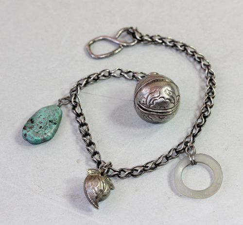 Chinese Silver Bell & Jade Charms on Silver Chain