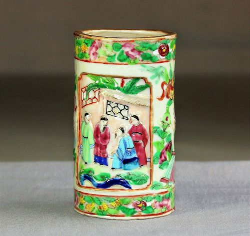 Chinese Export Rose Mandarin Porcelain Brush Pot, 19C.