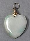 Chinese Jadeite Jade Pendant, Heart shape