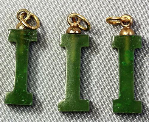 "Chinese Serpentine Jade Initial ""I"" Pendants(3)"