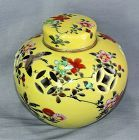 Japanese Nippon Porcelain Potpourri Jar & Cover