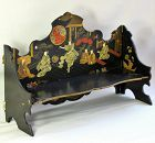 English Papier Mache lacquered Chinoiserie design Shelf