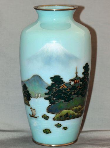 Japanese Cloisonne Enamel Vase, Mt. Fuji