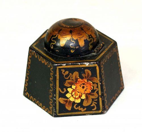 Tole Inkwell, hexagonal shape with glass insert
