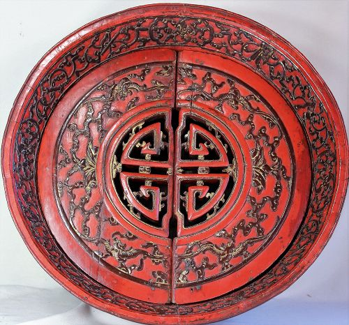 Chinese Bridal red lacquer on wood food storage bowl, 19th C.