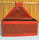 Chinese Red lacquer on Bamboo Bridal Wall Container