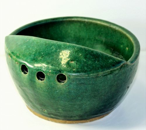 Chinese Pottery Noodle Maker Bowl, green glazed