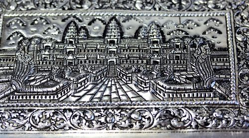 Cambodian Silver Box with Angkor Thom design